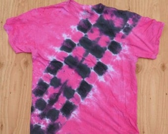 Pink and Black Bandolier Tie Dye T-Shirt (Fruit of the Loom Size L) (One of a Kind)