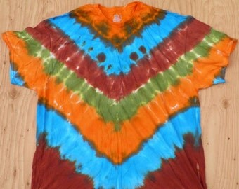 Mother Earth V-Stripe Tie Dye T-Shirt (Fruit of the Loom Size 3XL) (One of a Kind)