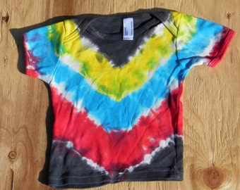 Black, Yellow, Blue, Red and Black Tie Dye Baby T-Shirt (American Apparel Organic Cotton 6-12 Months) (One of a Kind)