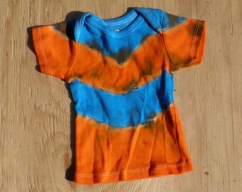 Orange and Blue Tie Dye Baby T-Shirt (Gerber Size 3-6 Months) (One of a Kind) (On Sale)