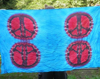 Red and blue Quadruple Peace Sign Tie Dye Tapestry (44 x 72) (One of a Kind)