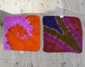 """Two Tie Dye Washcloths (Mainstays 11x11"""") (One of a Kind) (Two Pack)"""