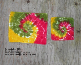 Two Rastaman Tie Dye Kitchen Towels (14in x 18in and 11in x 11in) (One of a Kind) (Two Pack)