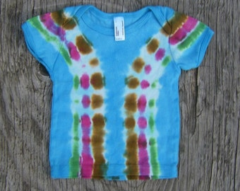 Multi Color Tie Dye Baby T-Shirt (Size 6-12 Months) (American Apparel Organic Cotton) (One of a Kind)