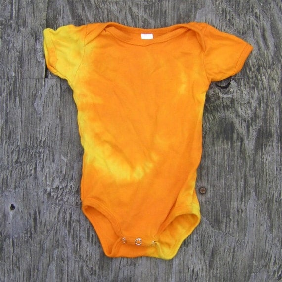 Red and Orange Spiral Tie Dye Baby Onesie (Size 3-6 Months) (American Apparel Organic Cotton) (One of a Kind) (On Sale)