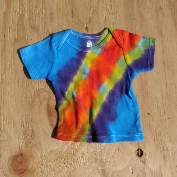 Rainbow Bandolier Tie Dye Baby T-Shirt (Gerber 3-6 Months) (One of a Kind) (On Sale)