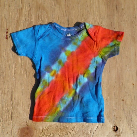 Rainbow Bandolier Tie Dye Baby T-Shirt (Gerber 6-9 Months) (One of a Kind) (On Sale)