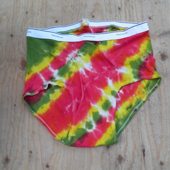Red, Yellow and Green Tie Dye Underwear (Fruit of the Loom Mens Briefs Size 3XL) (One of a Kind)