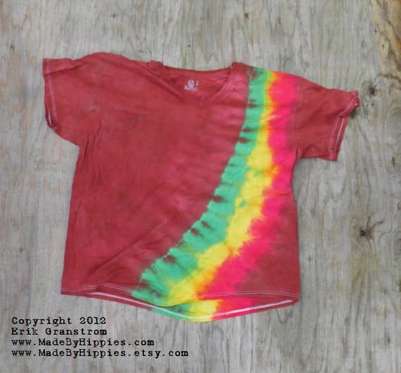 Rastaman Bandolier on Rust Brown Tie Dye T-Shirt (Fruit of the Loom V-Neck Size 2XL) (One of a Kind)