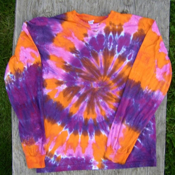 Pink Purple And Orange Tie Dye Long Sleeve Shirt Size M