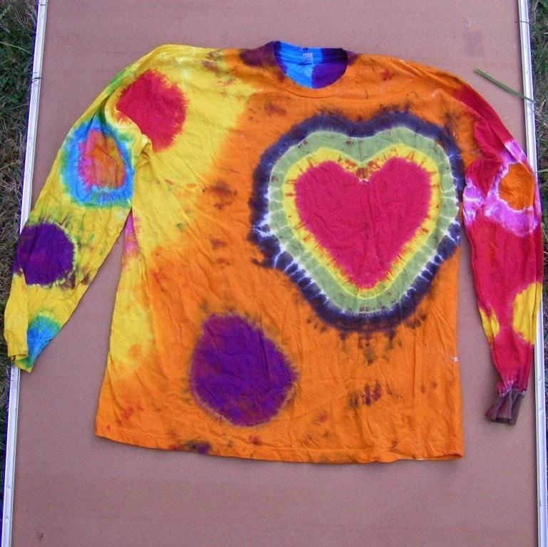 Rasta Heart Tie Dye Long Sleeve Shirt Size 2xl American