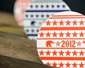 SALE - 35% OFF - 2012 Presidential Election Campaign Letterpress Paper Coasters
