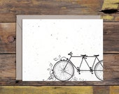 Tandem Bicycle Letterpressed Greeting Card