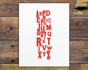Skinny Alphabet Letterpress Art Print