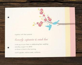 Cherry Blossom Love Birds Wedding Invitations