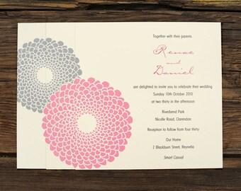 Blossom Wedding Invitation - Flower Blooms Invite Set Floral Pink Elegant