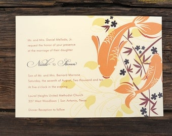 Layered Koi Fish Wedding Invitations