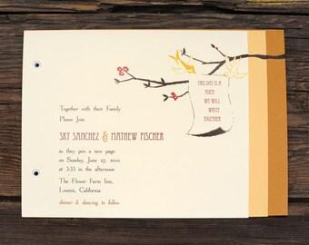 Scroll Love Birds Wedding Invitations