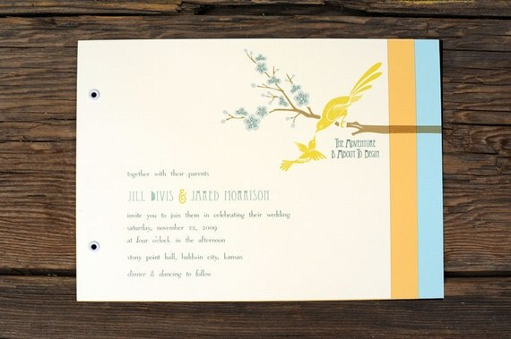 Art Deco Love Birds Wedding Invitations