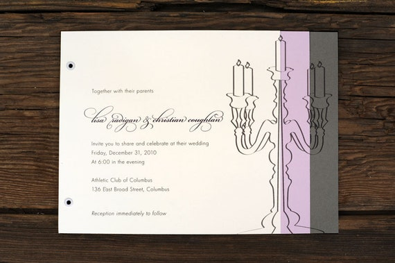 Layered Candelabra Wedding Invitations