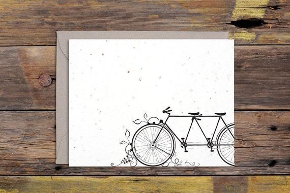 Tandem Bicycle Letterpressed Greeting Card