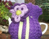 "Hand Knitted Tea Cosie "" Purple Pansy """
