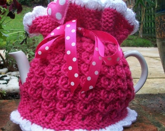 Pretty in Pink... Hand Knitted Tea Cosie