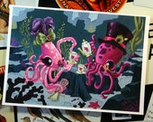 Tea for Two - 7 x 5 inch Gentleman Octopus and Lady Squid Tea Party Archival Digital Print - Open Ended Printing