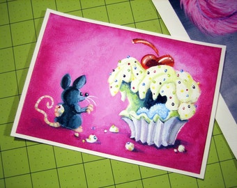Sprinkles - 5 x 7 inch Monster Cupcake w/ Mouse Archival Digital Print - Open Ended Printing