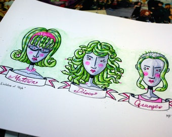 RETIRED - Medusa's Evolution of Style - 8x10 inch Iconic Hairstyles of the 60's 70's and 90's Archival Digital Print