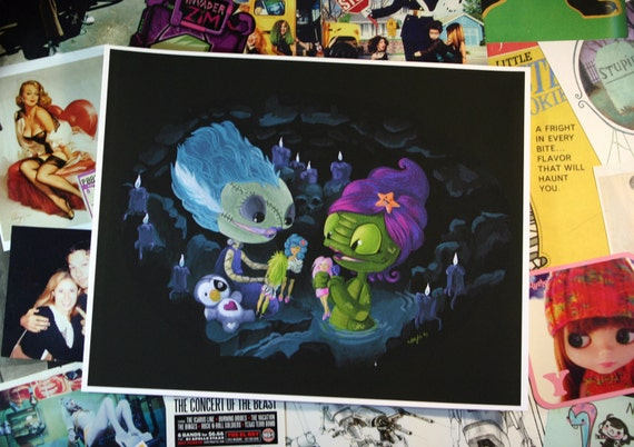 TRULY OUTRAGEOUS - 8x10 inch Bride of Frankenstein and Creature from the Pink Lagoon w/ Jem Dolls Digital Print