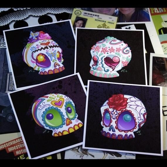 Sugar Skulls Print Set - Four 5x5 inch Dia de los Muertos Sugar Skull- Archival Digital Prints - Open Ended