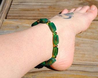 Green Agate Ankle Stretch Bracelet (Anklet)