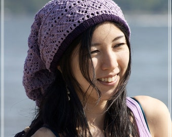 Drawstring Hat/ Cowl - MIXBERRY - Pima Cotton-Acrylic Blend