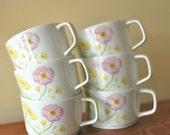 Set of 6 Jardin Genevieve Teacups