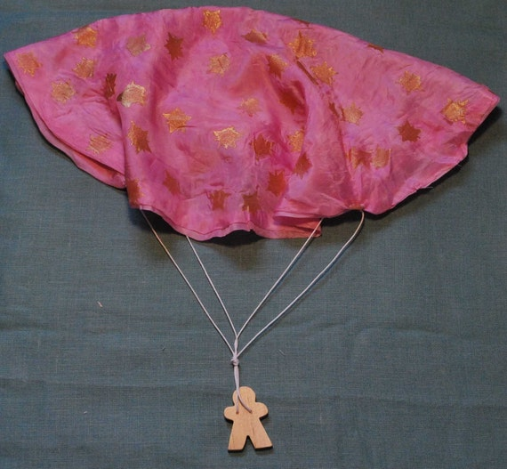 Pink Star Silk and Wood Parachute