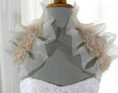 Bridal Bolero Shrug Sleeveless Bolero Bridal Wrap Wedding Shrug Wedding Bolero Bridal Pleated Stole Shoulder wrap