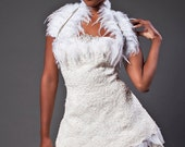 Short Wedding Dress- lace and feathers