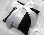 Black wedding ring pillow, ring bearers pillow , Goth Gothic wedding ring pillow black satin with white ribbons pillow