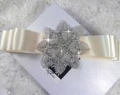Wedding sash, bridal sash belt,  satin ribbon with  crystal beaded applique