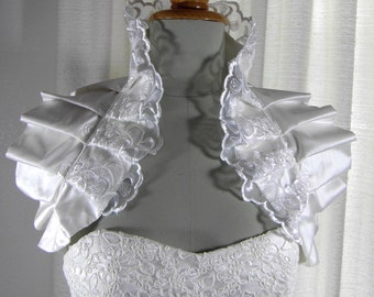 Your ROYAL Wedding -  Bridal shrug /pleated shoulder wrap / Victorian inspired , couture evening accessories