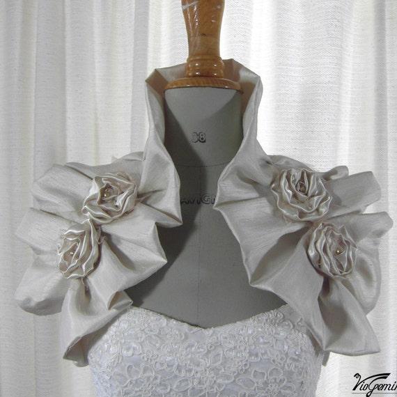 Bridal Bolero Shrug Golden Champagne Sleeveless Bolero Bridal Wrap Wedding Shrug Wedding Bolero Bridal Pleated Stole Shoulder wrap