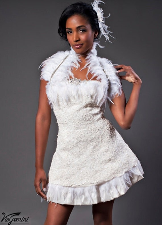 Items Similar To Short Wedding Dress Lace And Feathers On Etsy