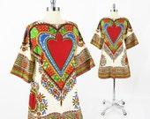 vtg 70s boho hippie ethnic red HEART paisley batik tribal DASHIKI caftan ANGEL bell sleeve tunic mini dress S M L