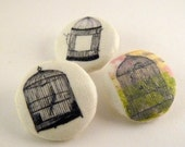 Buttons x 3 - Bird cages - 23mm