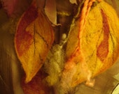 Golden Glow Falling Leaves Wrap  -- Copper irridescent silk wrap with felted and stitched trailing leaves