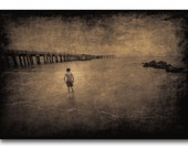Boy At The Beach Fine Art Photography - Coney Island, New York, Brown Toned