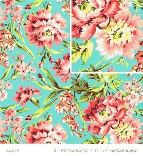 Last Yard    Amy Butler LOVE fabric Bliss Bouquet Teal ab50 1 yard