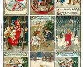 "Digital Scrapbook -  Vintage Children-  Christmas - ATC - 2.5x3.5""-XM7"