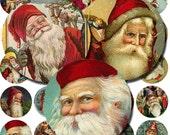 Digital Scrapbook -  Vintage Father Xmas - Christmas - Santa - Ephemera - 1 inch circles - Bottle cap - Collage Sheet
